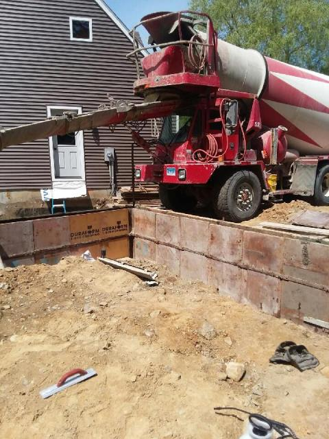 Preston, CT - Concrete forms are set up and being poured today in Preston CT for a new garage under construction. Framing will start next week.