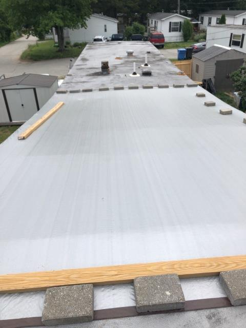 Ledyard, CT - Roof inspection on this storm damaged room in Ledyard CT. High winds blew the roof off this property. Temporary Tarp installed to protect the roof from more water damage. Insurance adjustor on the way.