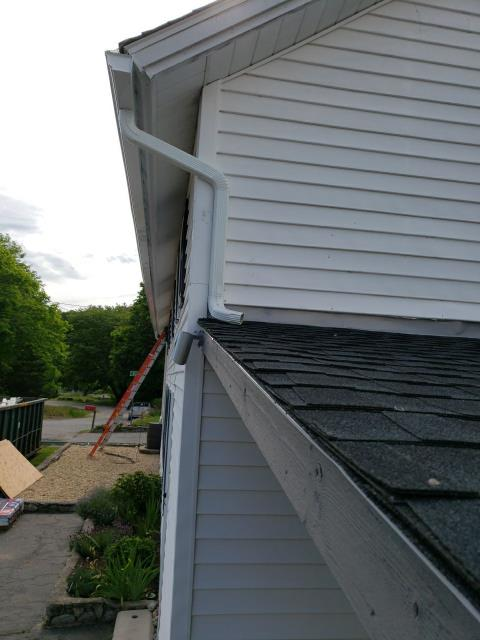 Richmond, RI - Removed old gutters and installed new aluminum seamless gutter and stainless steel gutter guards today in Richmond RI. Roof was just completed. Installed a new GAF Roof shigle.
