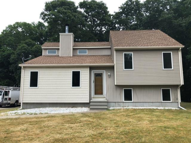 Ledyard, CT - New seamless aluminum Gutters installed where needed on this property in Ledyard CT. New gutter guards are a great way to keep leaves out of the gutters! no more cleaning old gutters