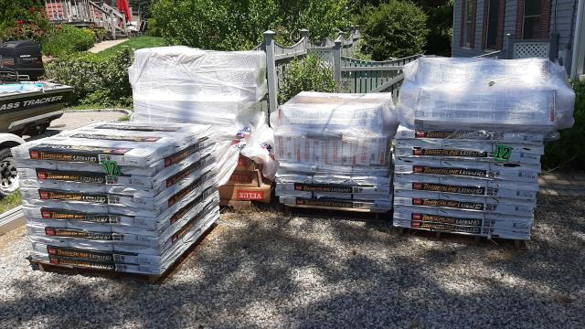South Kingstown, RI - All the GAF shingles and Velux skylights are on site ready to get installed!This customer chose to go with the thicker shingles. GAF Ultra timberline roof shingles.And velux skylight replacement