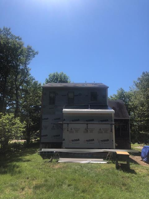 Charlestown, RI - Roof inspection in Charlestown RI . Pipe boots are ripped and need replacing and missing shingles need to be repaired. Will be installing new shingles on the addition.