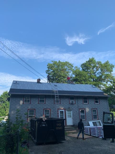 Plainfield, CT - Roofing crew is back on site early today to complete this full roof replacement in Plainfield CT. This roof needed sheathing installed to entire roof surface to provide a good base to install the GAF roof system to. All GAF accessories were installed yesterday to keep this building watertight overnight.