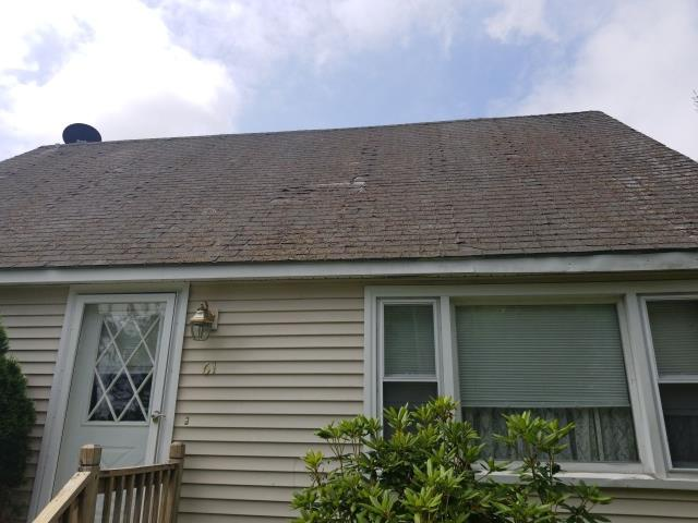 Plainfield, CT - Time for a new roof! this homeowner called us because of all the 5 star reviews they read online! One of the Highest rated roofing companies in CT! These roof shingles need to be removed and a new GAF Timberline shingle should be installed.