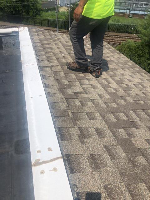 Stonington, CT - Doing a commercial roof inspection in Stonington CT. This roof was repaired two years ago by another contractor but is still leaking and will need to be replaced. New GAF Timberline HDZ shingles will be used