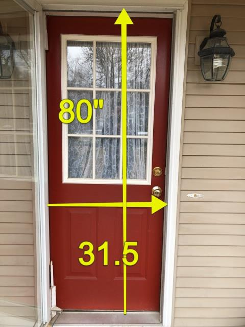 Stonington, CT - Measuring for a new Entry door. Full glass wanted on new door to allow more  sunlight into Kitchen.