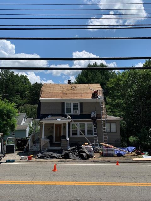 Norwich, CT - Our roofers are in Norwich Ct working on  full roof replacement. This storm damaged roof is getting replaced. First we removed the old damaged shingles and inspected the existing sheathing. All debris will be collected and removed. We run magnets around the property all day long to collect every nail!. New Roof no mess. GAF Timberline HDZ roof shingles will be installed.