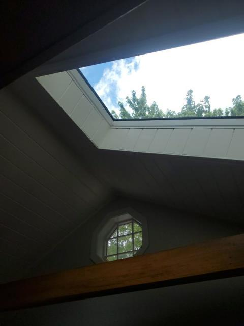 South Kingstown, RI - Just completed the interior trim around this New VELUX skylight in South Kingstown RI. This skylight was replaced when we completed the roof replacement. We installed GAF Timberline ULTRA HD shingles on this Coastal home.