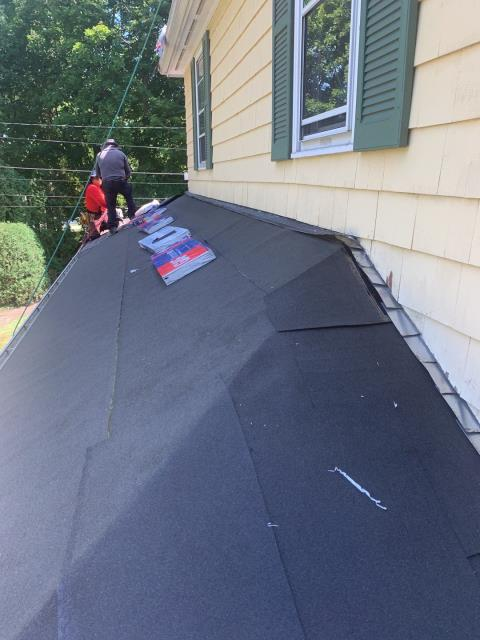 North Kingstown, RI - This area of the roof is getting full ice & Water coverage to give it maximum protection. The new GAF Timberline HDZ shingles are being installed next