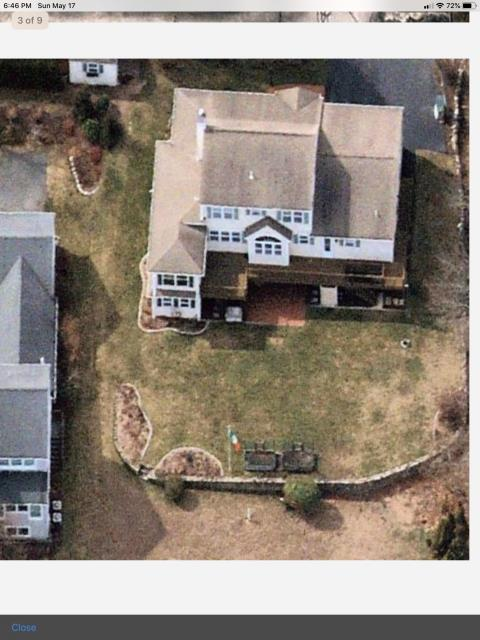 Narragansett, RI - Drone was used to get this picture of a upcoming roof replacement in Narragansett RI. The old wind damaged roof will be removed before installing a new GAF Timberline HDZ roof shingles.