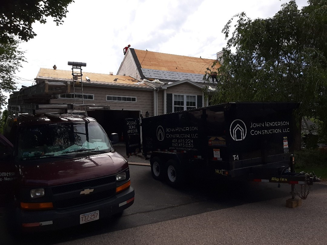 Narragansett, RI - Stripping and replacing roof today. GAF Timberline architectural shingles are being installed in weathered wood. We'll check in later for finished pic