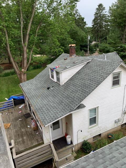 Groton, CT - The main house on this property is almost complete! New GAF Roof system was installed using all GAF Accessories color is Slate.Lifetime roof warranty