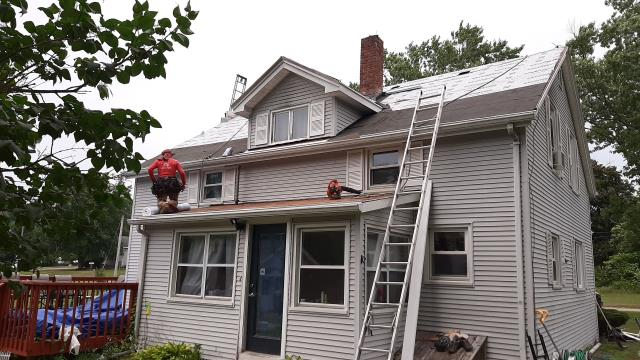 Hopkinton, RI - All the old roof shingles have been removed and the GAF accessories are installed. Ready for the new GAF Timberline roof shingles to be installed.