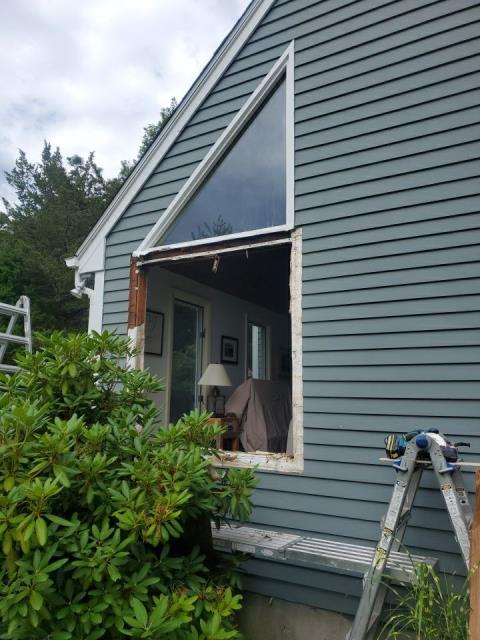 Charlestown, RI - Working on replacing some old Anderson Windows in Charlestown RI.The new Anderson windows will fit in same rough opening. New PVC exterior trim will be in stalled.