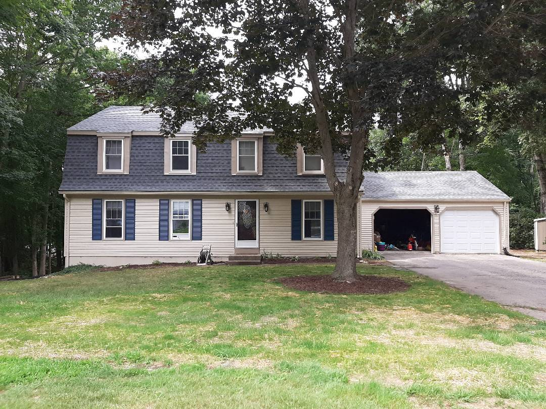East Lyme, CT - House is complete. GAF Timberline HDZ Architectural shingles installed in Pewter Gray. Home owners have a peace of mind knowing they're covered for 50 years!