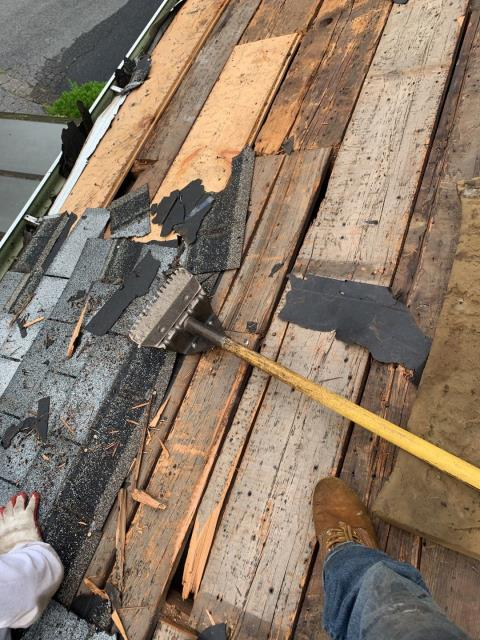 """Sterling, CT - The old worn out roof shingles have been removed and now we will be installing new 1/2"""" sheathing to make sure we have a proper base to install our new GAF Roof system"""