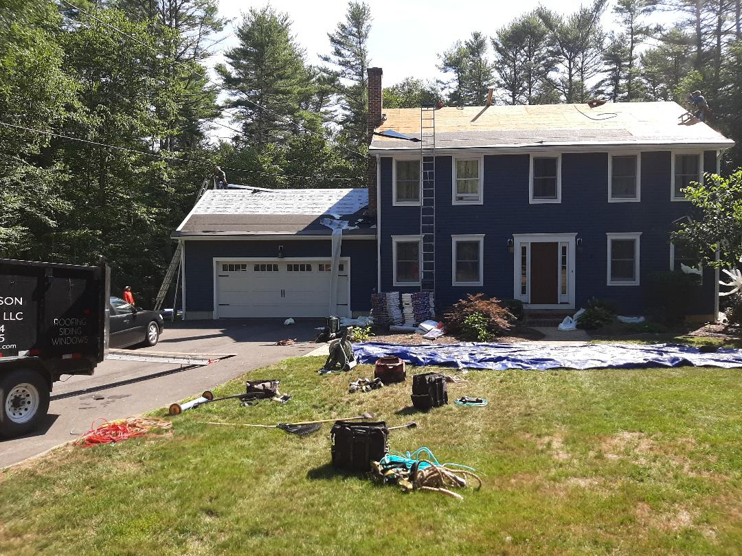 Hopkinton, RI - Crew is prepping house with GAF accessories, which will then be shingled with Timberline HDZ Architectural shingles in Charcoal.