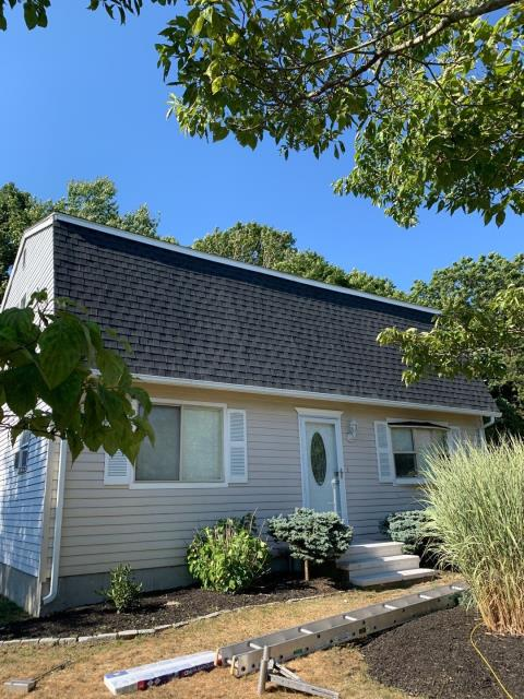Westerly, RI - Another quality GAF installed in Westerly RI! This Roof replacement was completed in one day! New sheathing was installed where needed. All new step flashing was installed and all new AZEK trim to replace rotten siding and trim boards. GAF Timberline HDZ shingles were used. All of GAF roofing accessories were used to help this roof qualify for a Golden pledge warranty backed by GAF! Master Elite Roofing contractor! Color charcoal