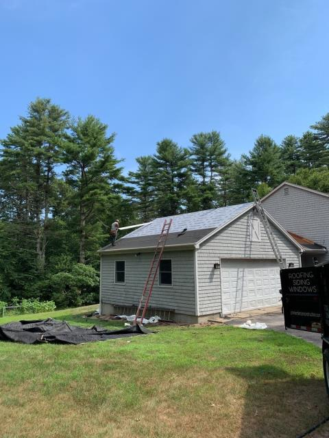 Hopkinton, RI - Our roofing crew is prepped and ready to start installing the GAF Timberline HDZ roof shingles on this roofing project in Hopkinton RI. Two rows of ICE & Water always used. GAF Felt buster used as a synthetic paper.