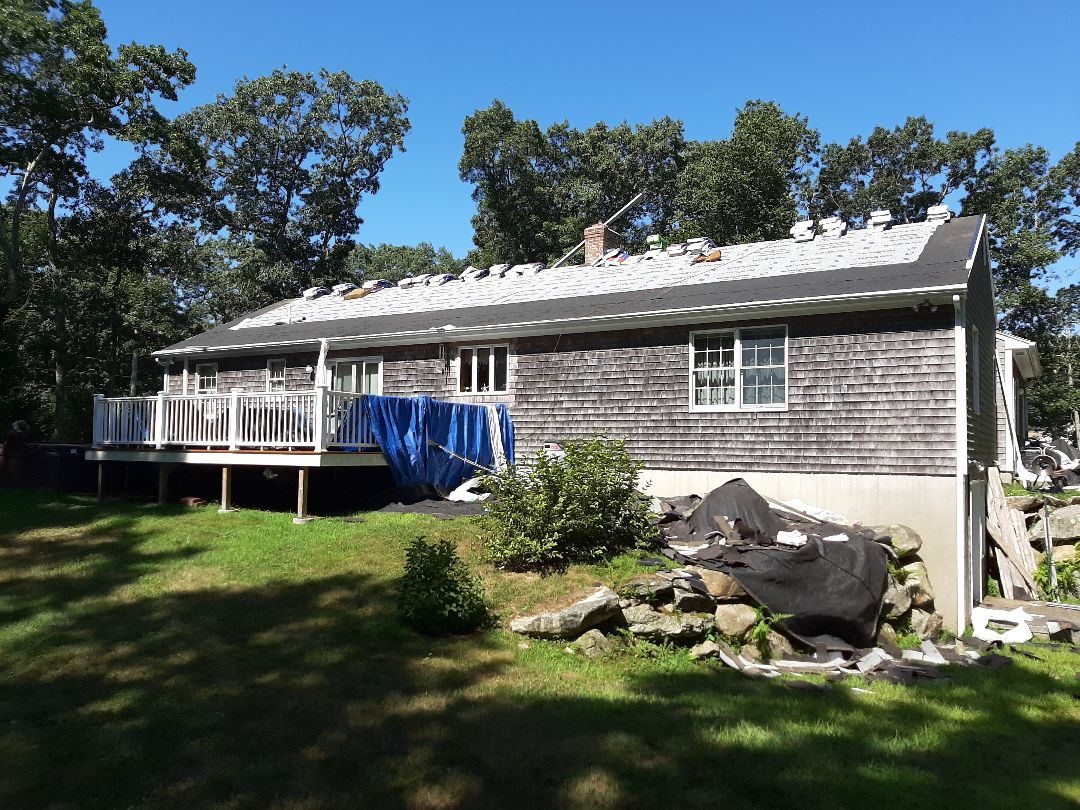 Charlestown, RI - Roof is stripped, and GAF accessories installed. Ready to start shingling.