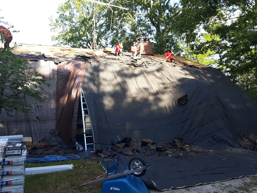 Hopkinton, RI - In Hopkinton today. Crew is stripping roof, which will then be inspected for any damages that may cause leaks.