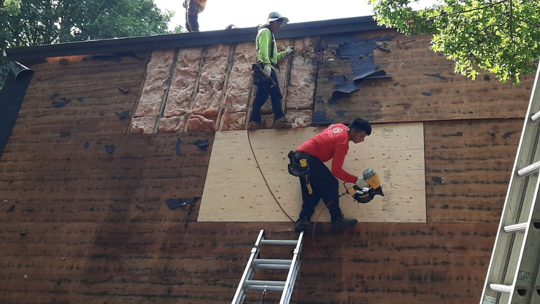 Charlestown, RI - Working in Charlestown today. Here the crew is replacing plywood sheets due to water damage.