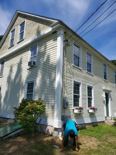 Griswold, CT - New custom AZEK corner boards were just completed on this roof replacement , siding replacement , and replacement  window project in Griswold CT. AZEK pvc trim will last much longer then the old wood corner boards. Harvey replacement windows being installed. A New GAF Timberline roof system  was installed first.