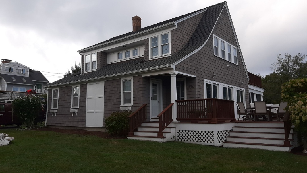 Narragansett, RI - All done! Home is now looking beautiful with new GAF roof system. Roof was finished with Timberline Ultra Architectural shingles in pewter gray.