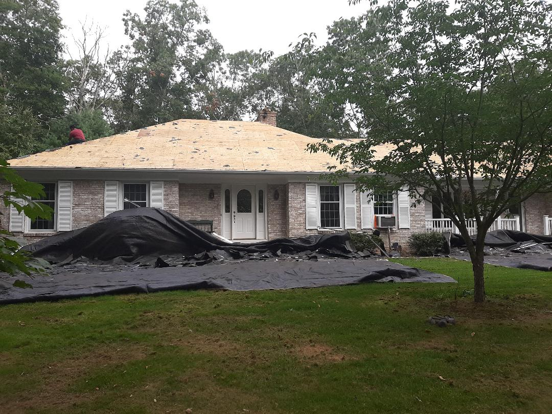 Hopkinton, RI - Working in Rockville, RI today. Here the crew has stripped most of the roof and now time to inspect roof deck. Any damaged sheets of plywood will be replaced.