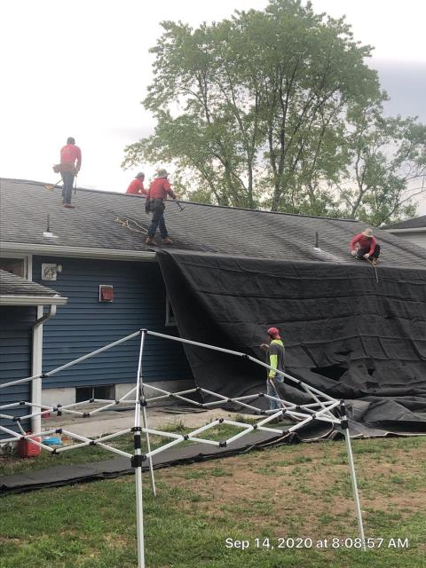 North Stonington, CT - Our roofers are starting a full roof replacement project today in north stonington CT. Tarps are being set up to protect the new vinyl siding from damage. A new GAF roof system will be installed using GAF Timberline HDZ roof shingles with a lifetime warranty!