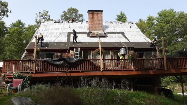 Glasgo, CT - Our roofers in Voluntown Ct are starting to install the new GAF Timberline roof shingles. All the GAF accessories have been installed, two rows of ice & Water and extra ice & water installed around roof penetrations and key areas to prevent ice damming and roof leaks.