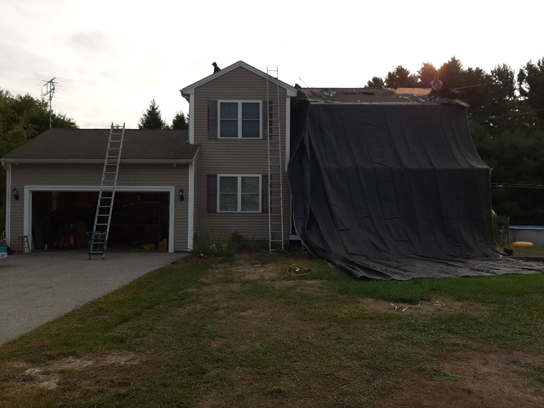 Sterling, CT - Working in Sterling, CT today. We're replacing roof shingles due to past windstorm damage. Crew is setting up to strip shingles and then we'll inspect plywood for any damages.