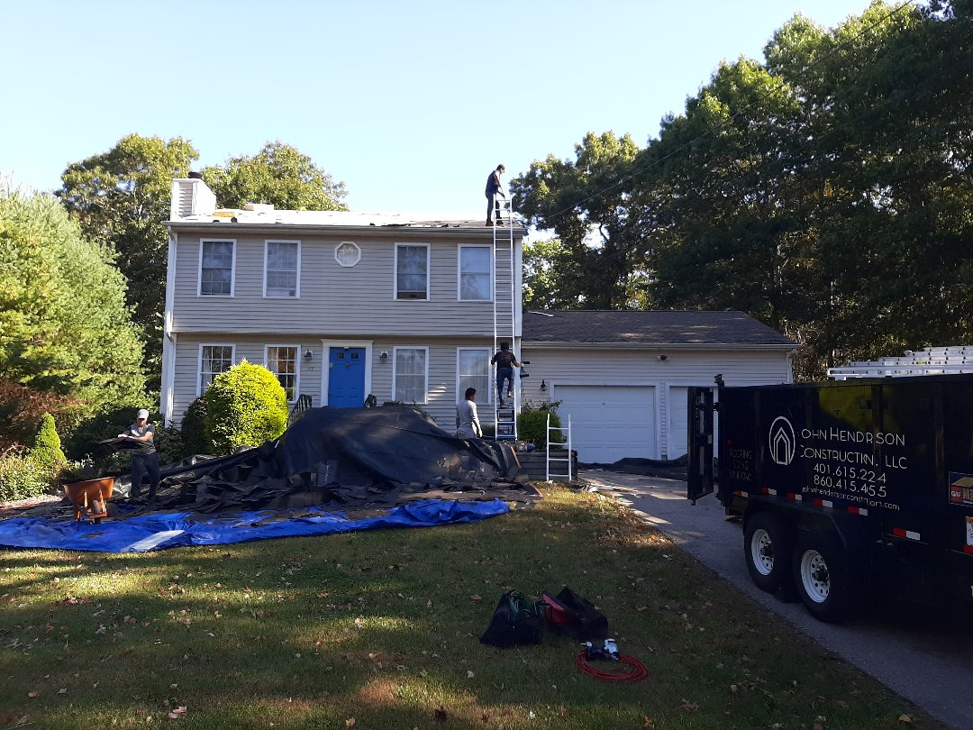 Charlestown, RI - Working in Charlestown today. We're replacing the roof due to missing shingles and leaks. Once the crew finishes stripping we'll inspect closer for damages.