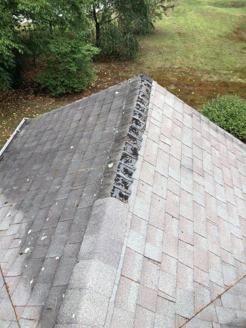 Hopkinton, RI - This roof is in need of being replaced in Hopkinton RI.These shingles have worn out prematurely due to lack of roof ventilation. A new GAF Timberline HDZ roof shingle will be installed on this roof with a lifetime warranty.