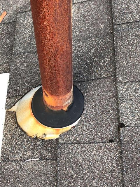 Narragansett, RI - Repairing this pipe flashing around old bathroom vent in Narragansett RI.
