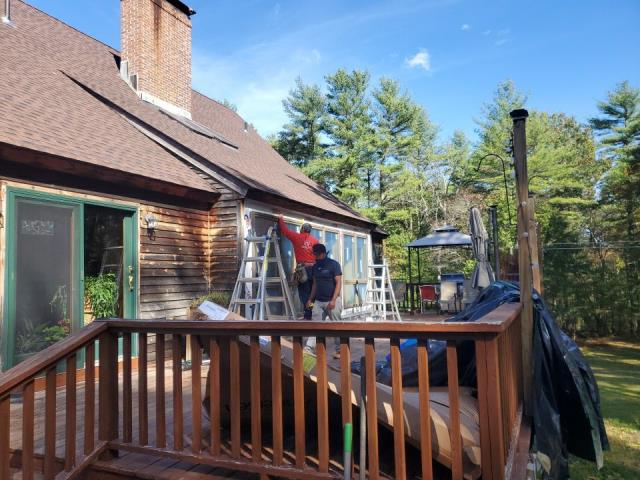 Glasgo, CT - Our carpenters are in Voluntown Ct replacing these old Anderson Windows. New interior trim and clapboard siding will be installed after the windows are replaced. This home also had a full roof replacement using GAF Timberline HDZ roof shingles.