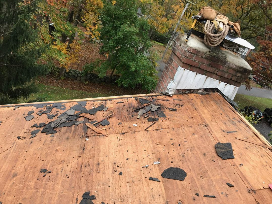 Ledyard, CT - During inspection we found some rotted plywood. We'll replace and then start to prep roof with GAF roof system accessories.