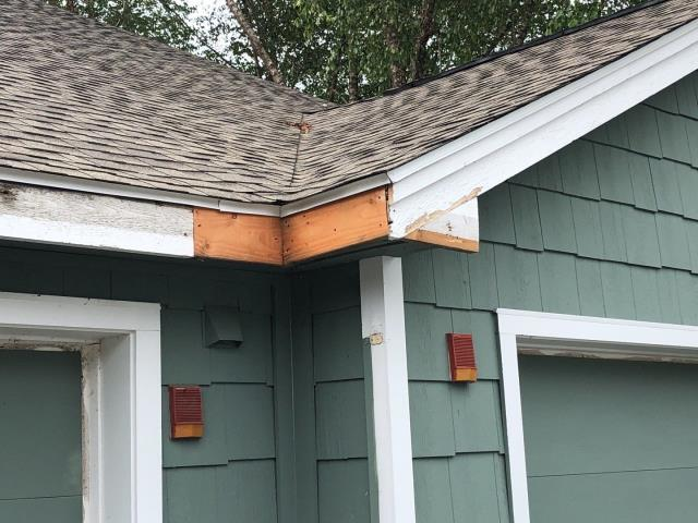 Groton, CT - Our carpenters are repairing the rot on these condos in Groton CT. The repairs are being  made before we install all new aluminum wrap. These building already had full roof replacements done using GAF Timberline HDZ shingles.