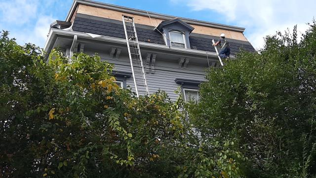 Westerly, RI - Installing a designer shingle on this historic home in Westerly RI.