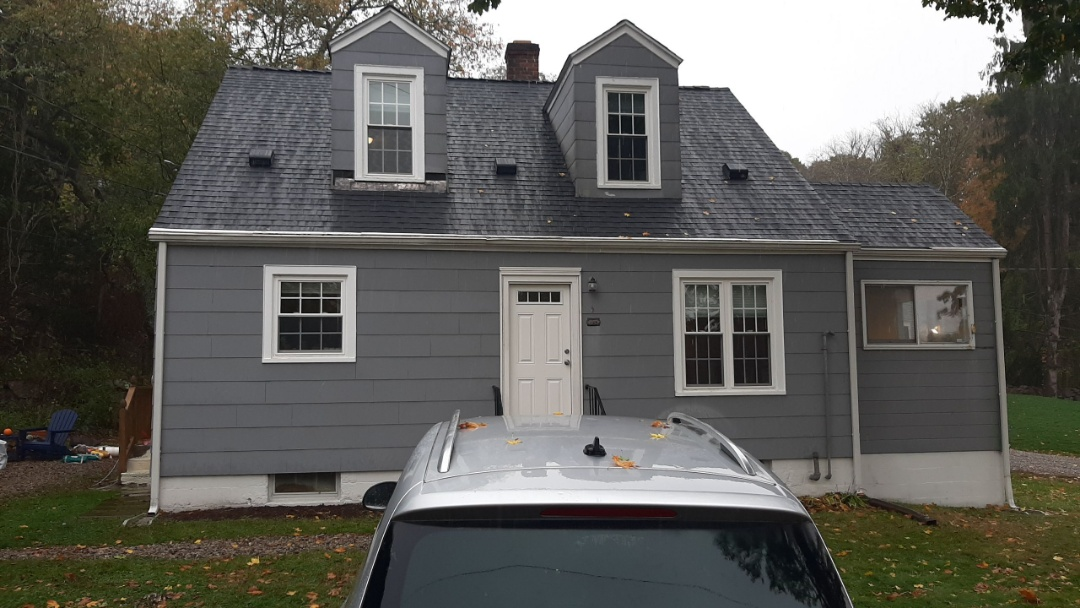 Stonington, CT - All done! We replaced roof with new GAF Weather Stopper roof system. Here the homeowners chose the Timberline HDZ Architectural shingles in Charcoal.