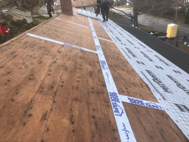 Norwich, CT - Roof replacement in progress today in Norwich CT. New GAF Timberline HDZ roof shingles.