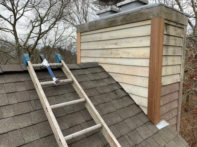 Charlestown, RI - Just completed a roof and siding repair in Charlestown RI. Removed damaged siding and step flashings. Installed new wood clapboard siding.