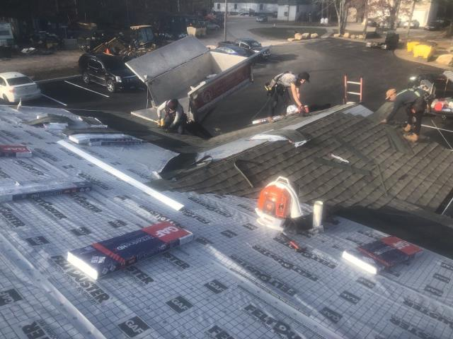 Charlestown, RI - This commercial roof replacement in Charlestown RI is moving along nicely! All GAF Roofing accessories are being used. New GAF Timberline HDZ roof shingles ,color Weathered wood.