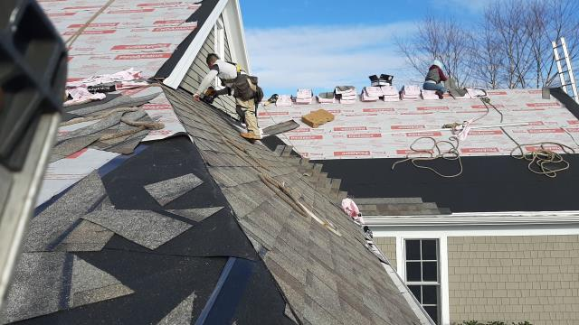 Westerly, RI - Our roofers are working on a full roof replacement project in Westerly RI using Owens corning roof shingles and accessories. Factory Warranty Backed By Owens Corning! New roof no mess.Two rows ice & water. Ice & water on Rakes.