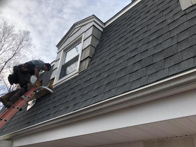 South Kingstown, RI - Our carpenters in Groton Ct are residing these dormers that have rotten wood siding. New wood shake siding is being installed to match existing