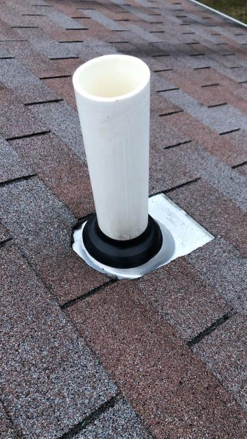 Richmond, RI - This pipe flashing in Richmond RI was leaking after the heavy rain. Flashing was repaired to keep water out of the attic