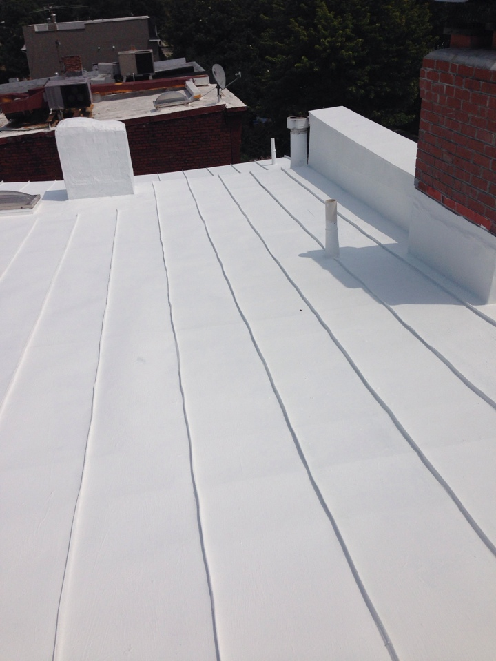 Washington, DC - Coating a metal standing seams roof.