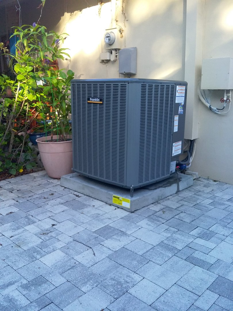 Clearwater, FL - Installation of a 2 ton heatpump 20 seer Franklin split system including 10 year parts and labor coverage through the manufacturer.