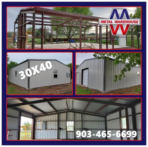 Denison, TX - Metal Warehouse just provided material on this big 30X40 metal building in Denison, TX.