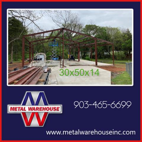 Whitewright, TX - Metal Warehouse just provide the metal for this 30x50x14 metal frame in Whitewright, TX.